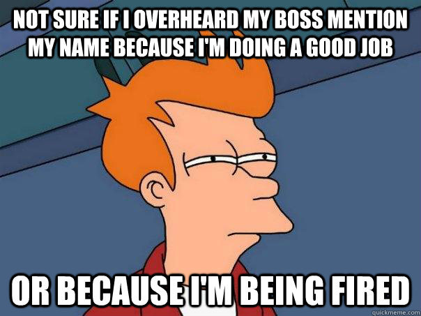 not sure if i overheard my boss mention my name because im  - Futurama Fry