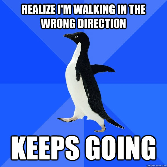 realize im walking in the wrong direction keeps going - Socially Awkward Penguin