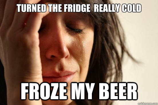 turned the fridge really cold froze my beer - First World Problems