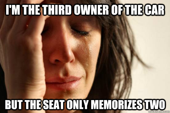im the third owner of the car but the seat only memorizes t - First World Problems