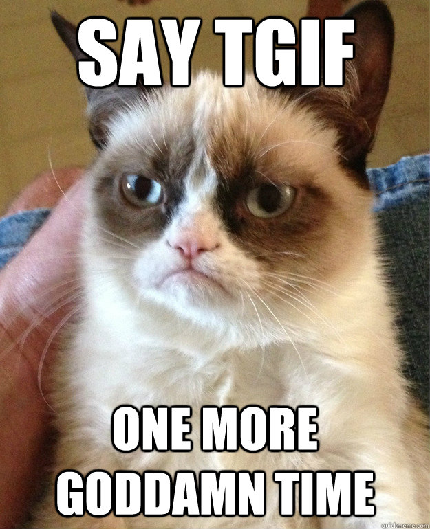 say tgif one more goddamn time - Grumpy Cat