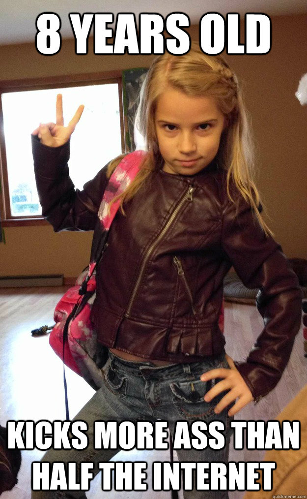 8 years old kicks more ass than half the internet - Bad-ass little girl