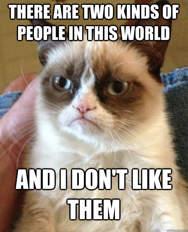 there are two kinds of people in this world and i dont like - Grumpy Cat