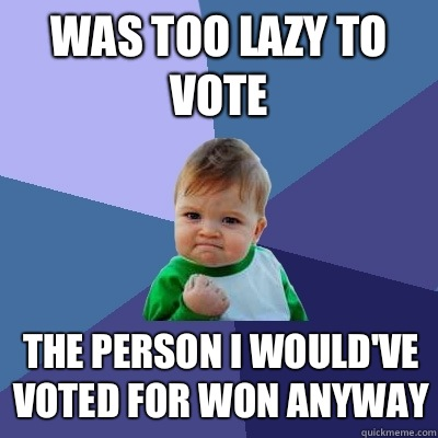 Was too lazy to vote The person I wouldve voted for won anyw - Success Kid