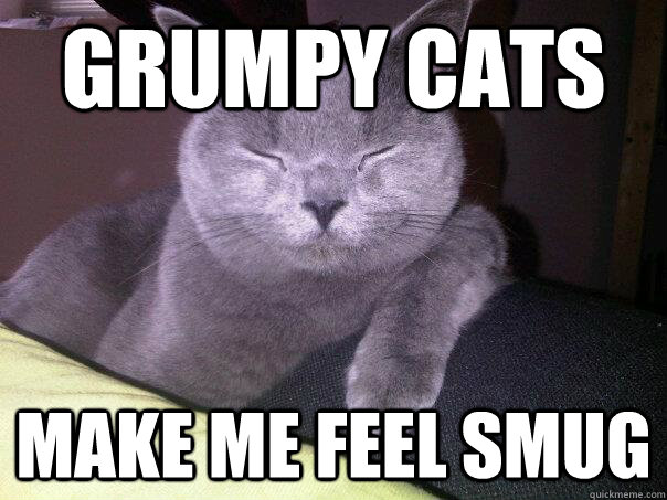 grumpy cats make me feel smug - Smug Cat.