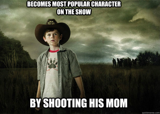 becomes most popular character on the show by shooting his m - Carl Grimes