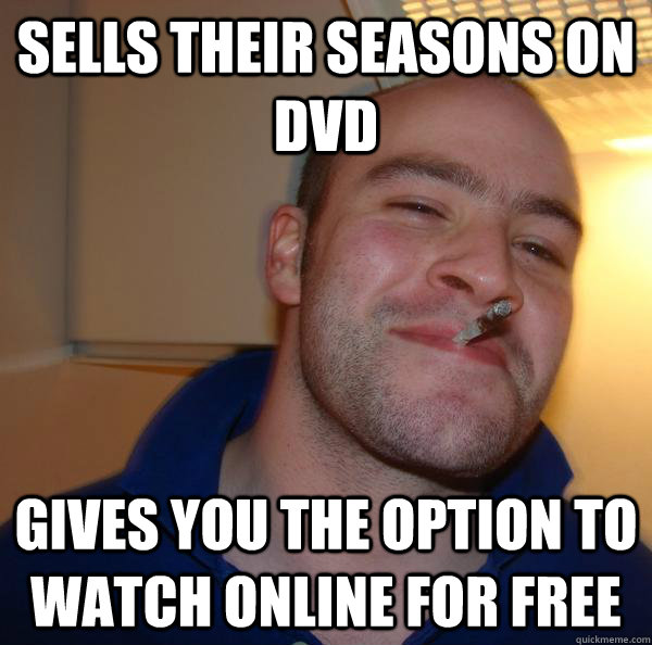 sells their seasons on dvd gives you the option to watch onl - Good Guy Greg