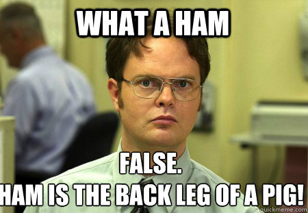 what a ham false ham is the back leg of a pig - Schrute