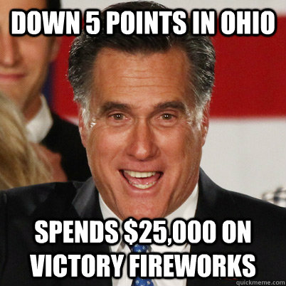 down 5 points in ohio spends 25000 on victory fireworks - Overconfident Romney