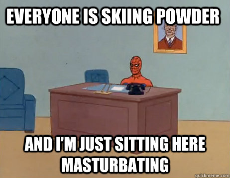 everyone is skiing powder and im just sitting here masturb - Masturbating Spiderman