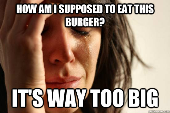 how am i supposed to eat this burger its way too big - First World Problems