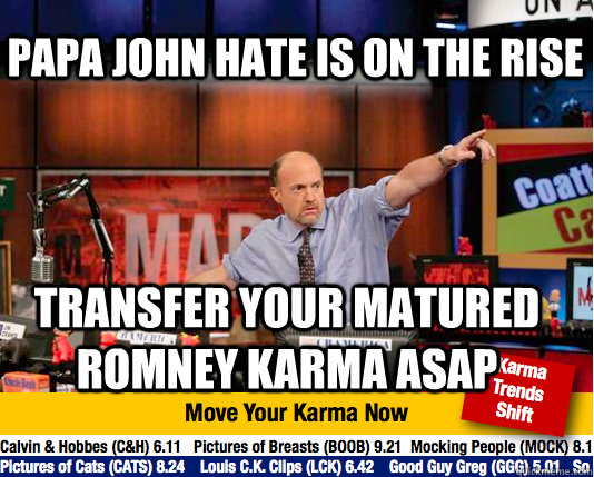 papa john hate is on the rise transfer your matured romney k - Mad Karma with Jim Cramer