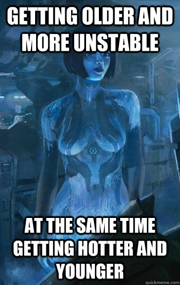 getting older and more unstable at the same time getting hot - Scumbag Cortana