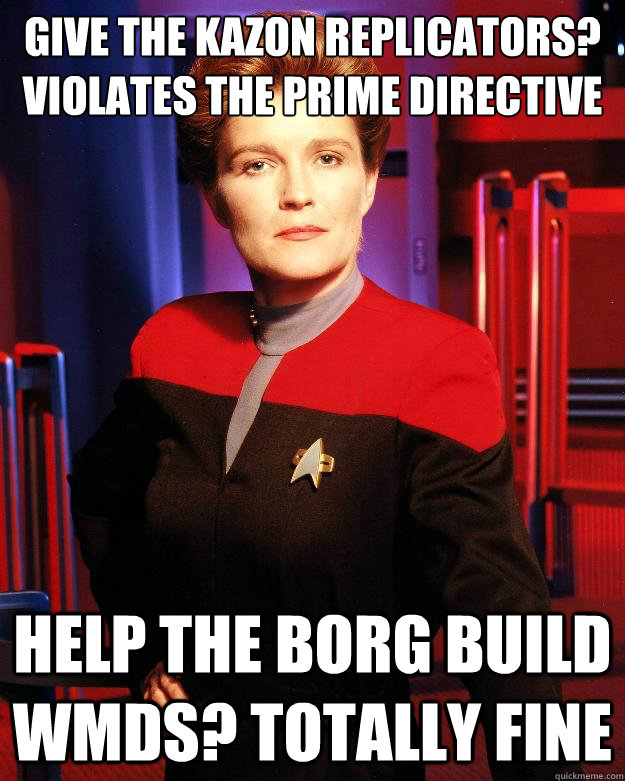 give the kazon replicators violates the prime directive hel - Destroy My Own Ship Janeway