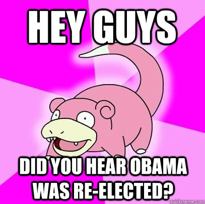 hey guys did you hear obama was reelected - Slowpoke