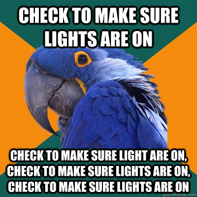 check to make sure lights are on check to make sure light ar - Paranoid Parrot
