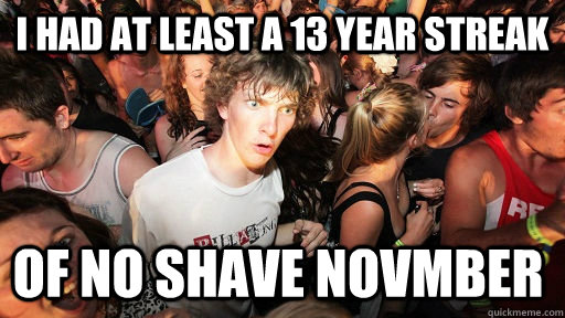 i had at least a 13 year streak of no shave novmber - Sudden Clarity Clarence