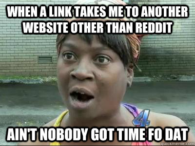 when a link takes me to another website other than reddit ai - Aint Nobody Got Time For That