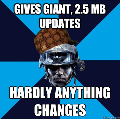 gives giant 25 mb updates hardly anything changes - Scumbag Battlefield 3 Guy