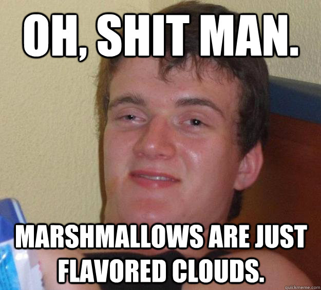 oh shit man marshmallows are just flavored clouds - 10 Guy