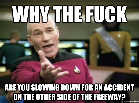 why the fuck are you slowing down for an accident on the oth - Annoyed Picard HD