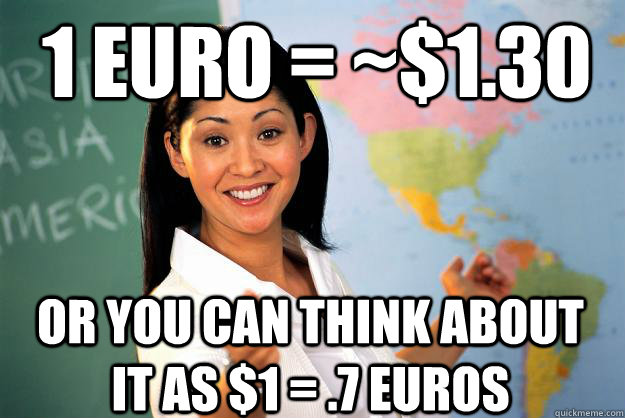 1 euro 130 or you can think about it as 1 7 euros - Unhelpful High School Teacher