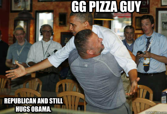 gg pizza guy republican and still hugs obama  - Hug Obama
