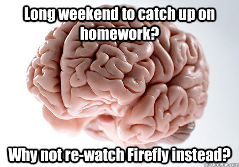 long weekend to catch up on homework why not rewatch firef - Scumbag Brain