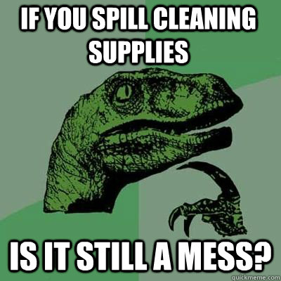 if you spill cleaning supplies is it still a mess  - Philosoraptor