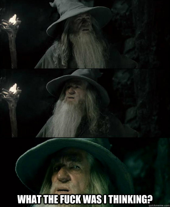 what the fuck was i thinking - Confused Gandalf