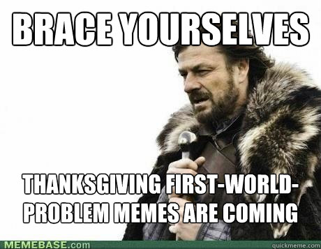 brace yourselves thanksgiving firstworldproblem memes are  - BRACE YOURSELF