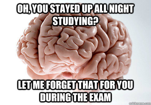 oh you stayed up all night studying let me forget that for - Scumbag Brain