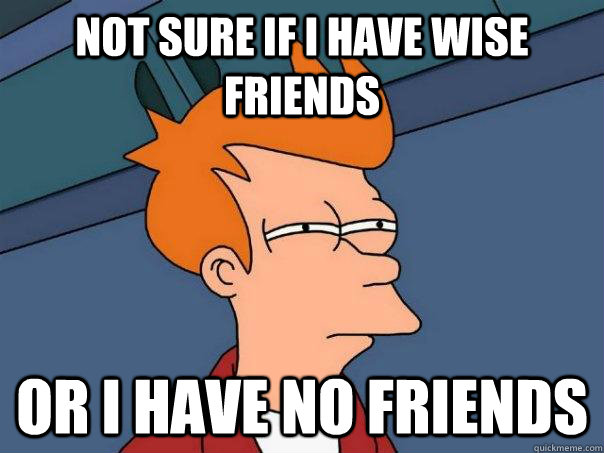 not sure if i have wise friends or i have no friends - Futurama Fry