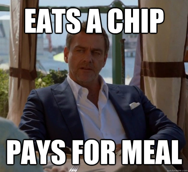 eats a chip pays for meal - 