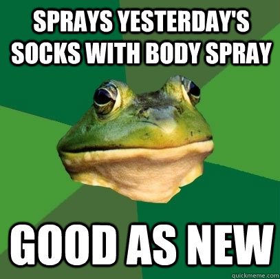 sprays yesterdays socks with body spray good as new - Foul Bachelor Frog