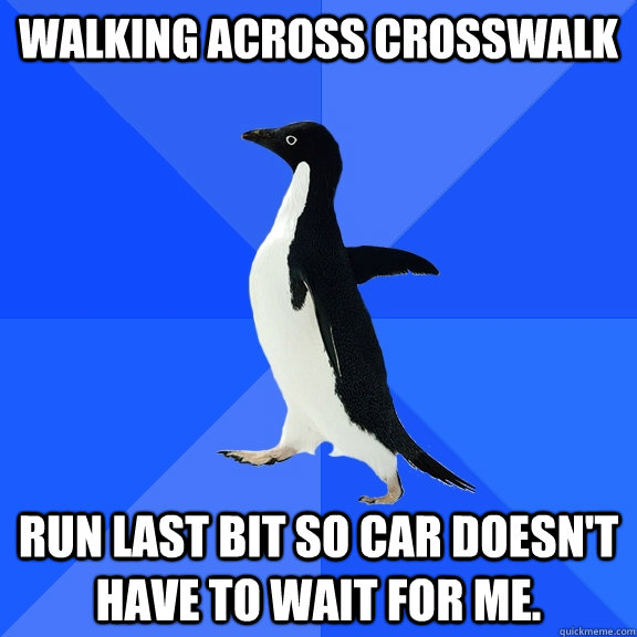 walking across crosswalk run last bit so car doesnt have to - Socially Awkward Penguin
