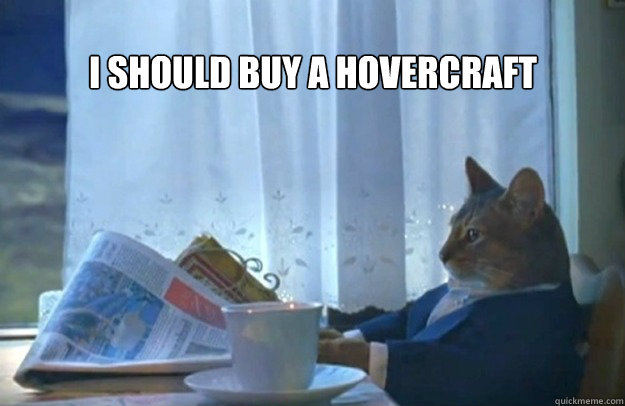 i should buy a hovercraft - Sophisticated Cat