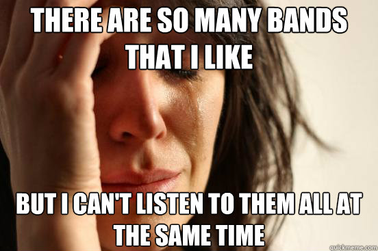 there are so many bands that i like but i cant listen to th - First World Problems