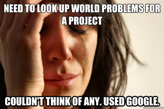 need to look up world problems for a project couldnt think  - First World Problems