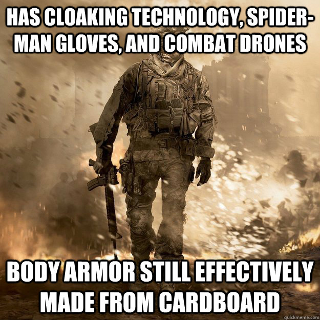 has cloaking technology spiderman gloves and combat drone - Call of Duty Logic