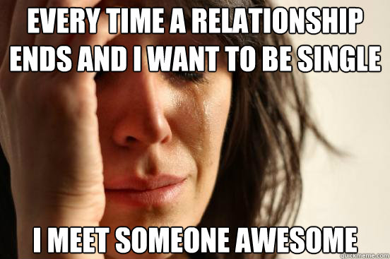 every time a relationship ends and i want to be single i mee - First World Problems