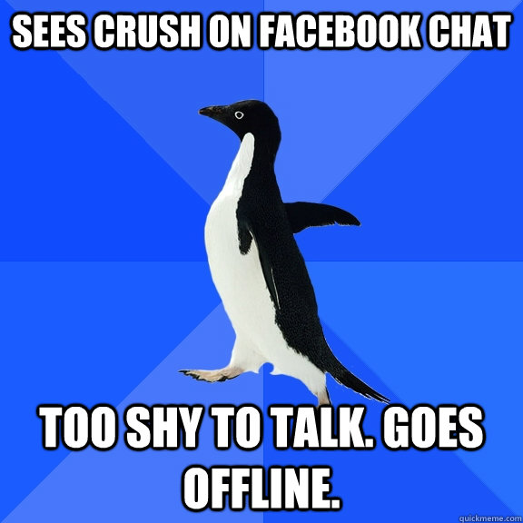 sees crush on facebook chat too shy to talk goes offline - Socially Awkward Penguin