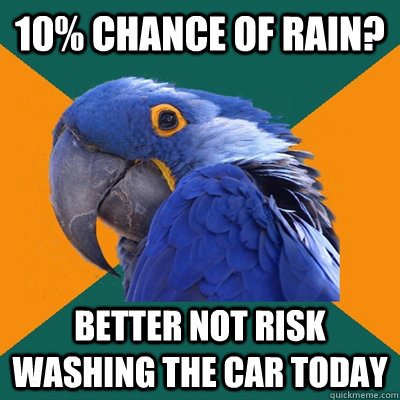 10 chance of rain better not risk washing the car today  - Paranoid Parrot