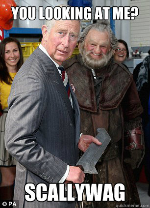 you looking at me scallywag - prince charles sword