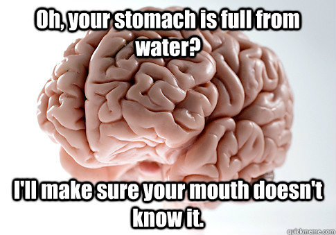 oh your stomach is full from water ill make sure your mou - Scumbag Brain