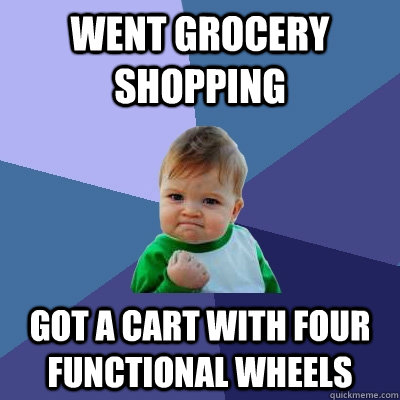 went grocery shopping got a cart with four functional wheels - Success Kid