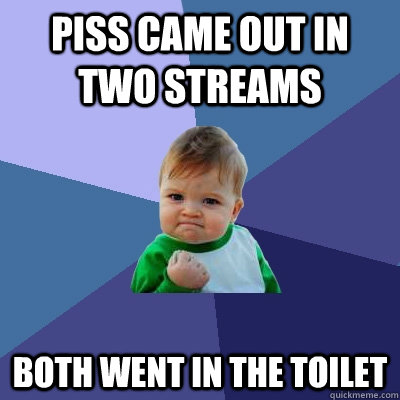 piss came out in two streams both went in the toilet - Success Kid