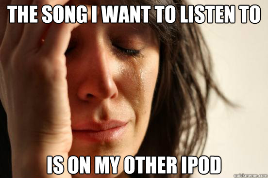 the song i want to listen to is on my other ipod - First World Problems
