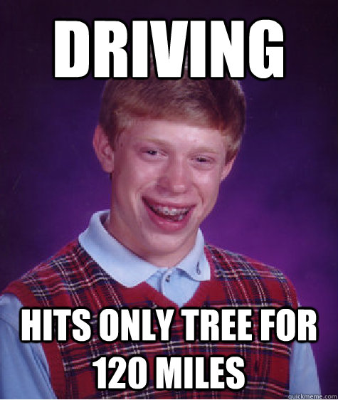 driving hits only tree for 120 miles - Bad Luck Brian