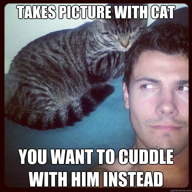 takes picture with cat you want to cuddle with him instead - Ridiculously photogenic cat-guy